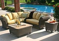 Садовая мебель: угловой диван, 2 стола