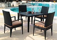Садовая мебель: 4 стула с подлокотниками и стол