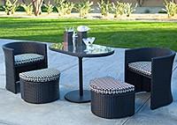 Кофейный стол, 2 кресла с пуфиками