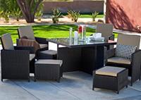 Садовая мебель: стол, 4 кресла, 4 пуфика
